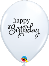 Simply Happy Birthday Balloons (White 6pc) - 11 Inch Balloons